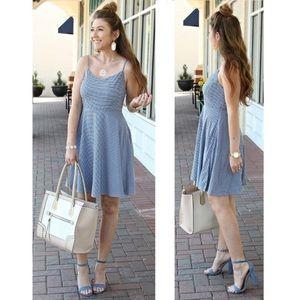 blue gingham plaid old navy dress l